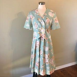 Vintage Sage Green Rose Midi Skirt Jacket Set